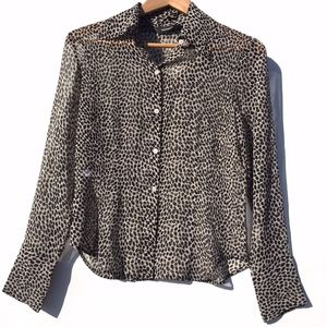 Womens Express Leopard Print Button Front Blouse